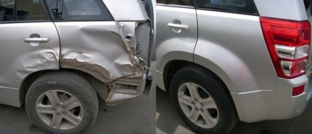 Фото до и после ремонта крыла